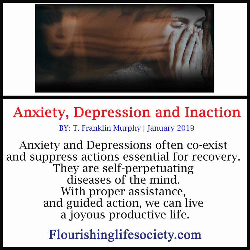 Anxiety and Depressions often co-exist and suppress actions essential for recovery. They are self-perpetuating diseases of the mind. With proper assistance, and guided action, we can live a joyous productive life.