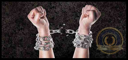 Pulling chains apart that are wrapping two arms together. A Flourishing Life Society article on breaking the chains of addiction.