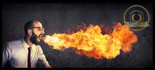 Man blowing fire out his mouth. Fueling the Flames of Anger. A Flourishing Life Society Article