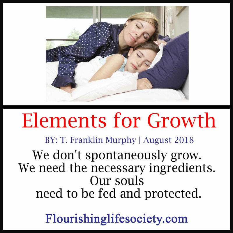 We don't spontaneously grow. We need the necessary ingredients. Our souls need to be fed and protected.