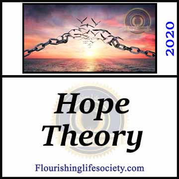 FLS Link: Hope Theory: Motivation to Succeed. Hope is more than an optimistic reliance on unseen forces. Hope, according to Hope Theory, is a combination of three elements: realistic goals, energetic determination, and intelligent pursuit.