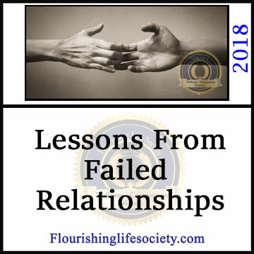 The failed relationship provides a rich source of information about our insecurities, emotional triggers, and weaknesses. If we fail to pause and reflect on the failures, we consign ourselves to reliving the tragedy.