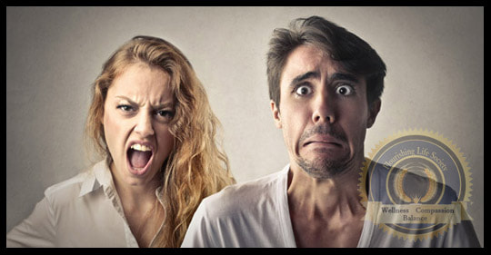 A man and woman. One yelling the other frightened. A Flourishing Life Society article on love and fear