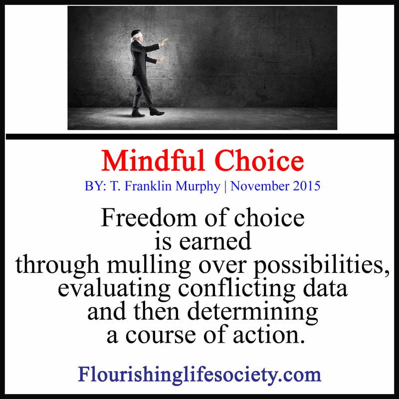 Freedom of choice is earned through mulling over possibilities, evaluating conflicting data and then determining a course of action.
