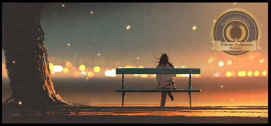 A woman waiting on a bench at night. Procrastination article from Flourishing Life Society