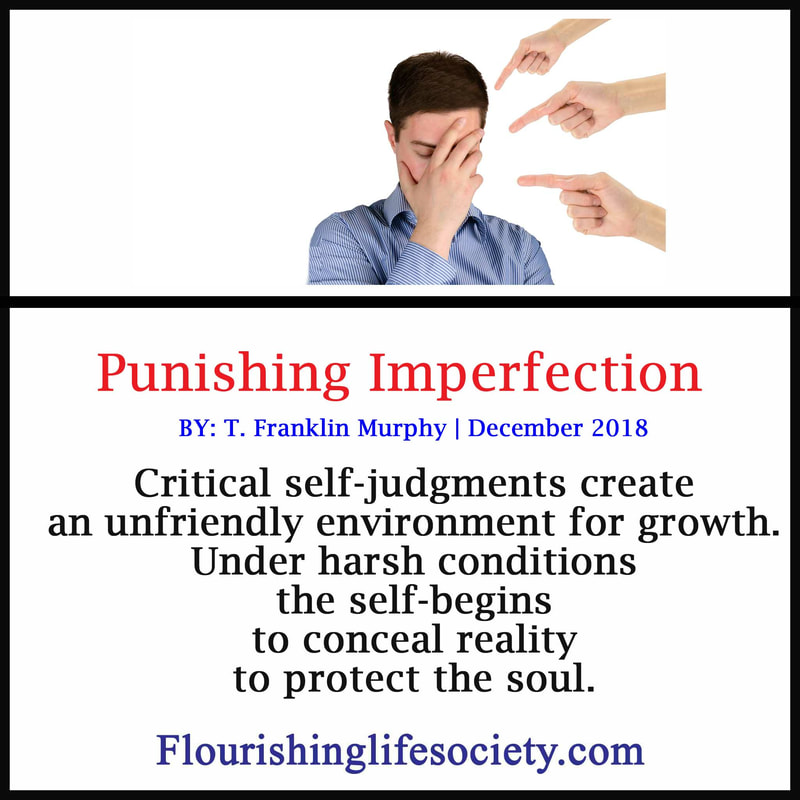 Banner link: Punishing Imperfection-  Critical self-judgments create an unfriendly environment for growth. Under harsh conditions the self-begins to conceal reality to protect the soul.