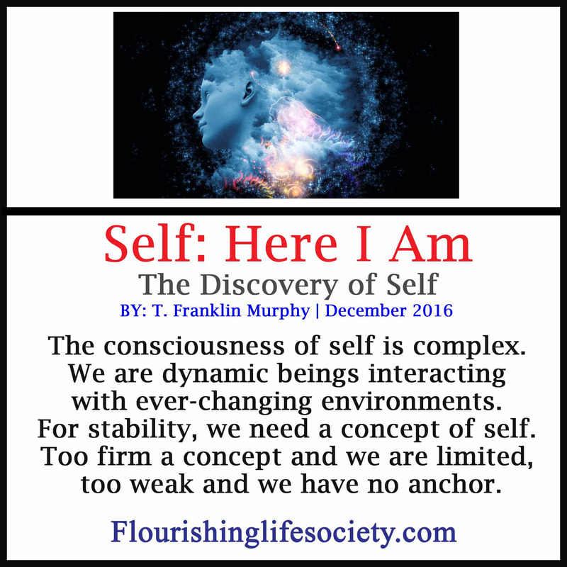 Internal Link. Self: Here I am. The consciousness of self is complex. We are dynamic beings interacting with ever-changing environments. For stability, we need a concept of self. Too firm a concept and we are limited and deceived, to weak and we have no anchor.