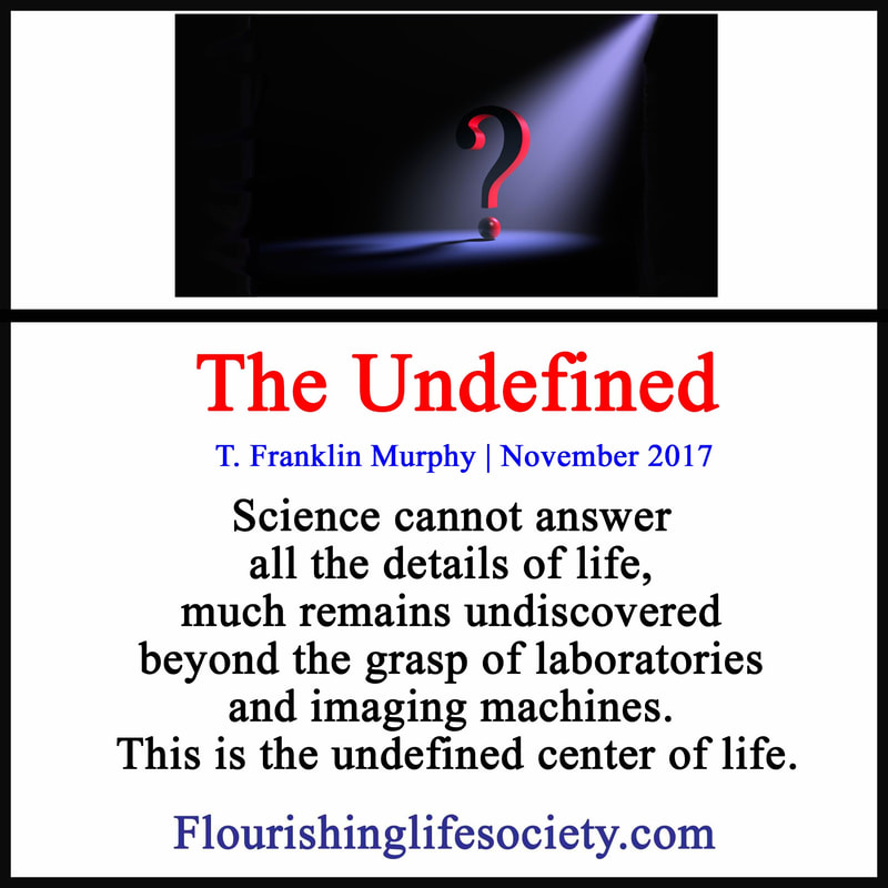 Science cannot answer all the details of life, much remains undiscovered beyond the grasp of laboratories and imaging machines. This is the undefined center of life.