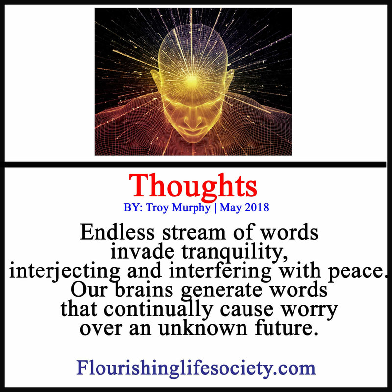 Endless stream of words invade tranquility, interjecting and interfering with peace. Our brains generate words that continually cause worry over an unknown future.