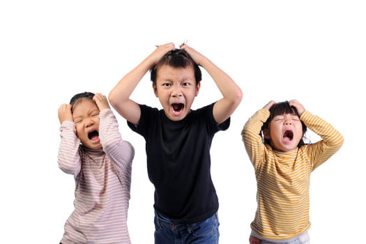 Three children having an emotional breakdown. Flourishing Life Society article on emotional regulation