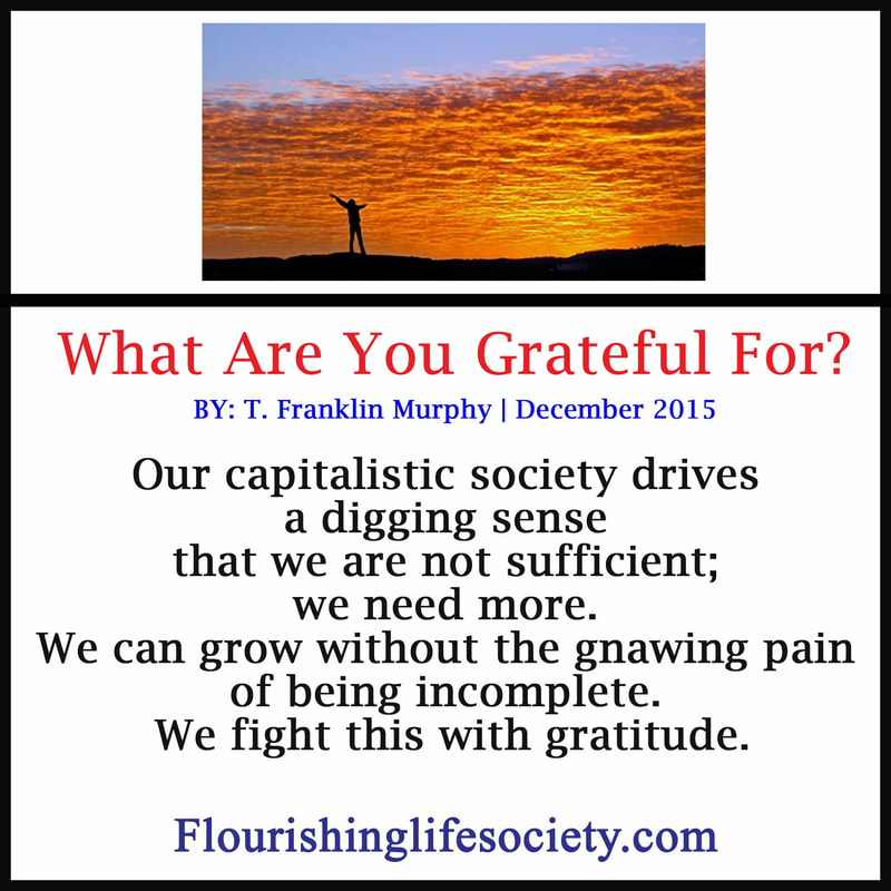 Link: Our capitalistic society drives a digging sense that we are not sufficient; we need more. We can grow without the gnawing pain of being incomplete. We fight this with gratitude.