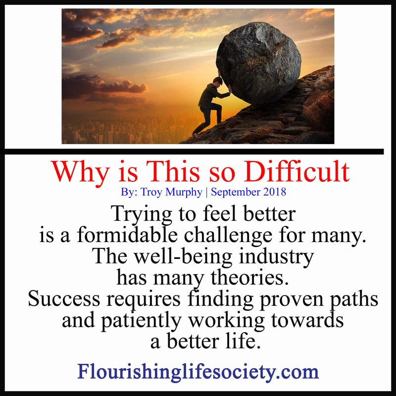 Trying to feel better is a formidable challenge for many. The well-being industry has many theories. Success requires finding proven paths and patiently working towards a better life.